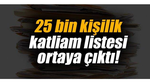 25 bin kişilik katliam listesi ortaya çıktı!
