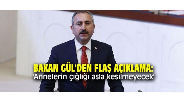 Bakan Gül'den flaş açıklama: 'Annelerin çığlığı asla kesilmeyecek'