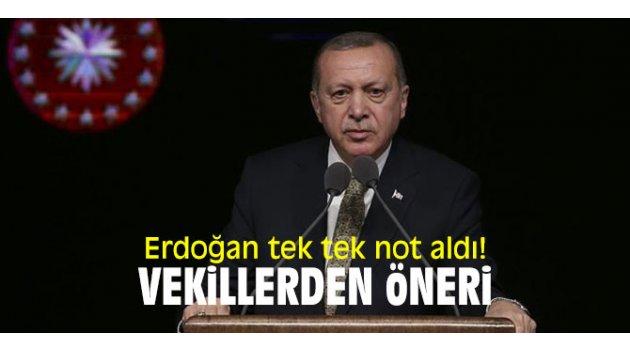 Cumhurbaşkanı Erdoğan'a vekillerden öneri