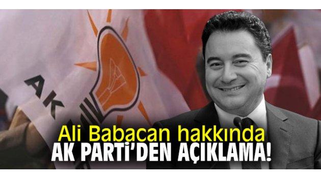 Ali Babacan hakkında AK Parti'den açıklama!