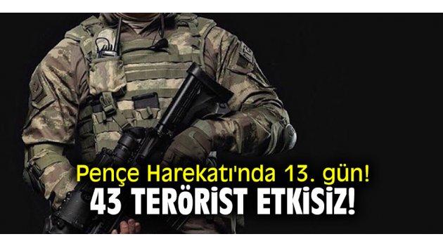 Pençe Harekatı'nda 13. gün! 43 terörist etkisiz!