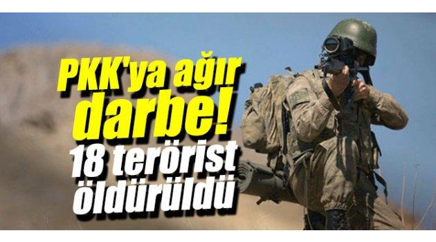 PKK'ya darbe! 18 terörist öldürüldü