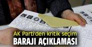 AK Parti'den kritik seçim barajı açıklaması