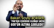 """Bakan Soylu açıkladı: """"PKK'nın içerideki eleman sayısı 600'ün altına geriledi!"""""""