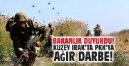 Bakanlık duyurdu! Kuzey Irak'ta teröristlere ağır darbe!