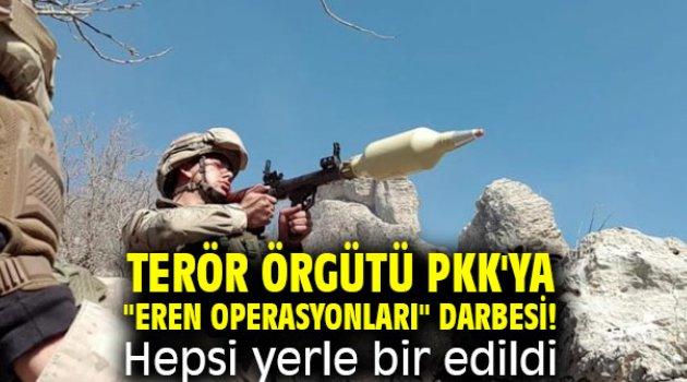 """Terör örgütü PKK'ya """"Eren Operasyonları"""" darbesi!  Hepsi yerle bir edildi"""